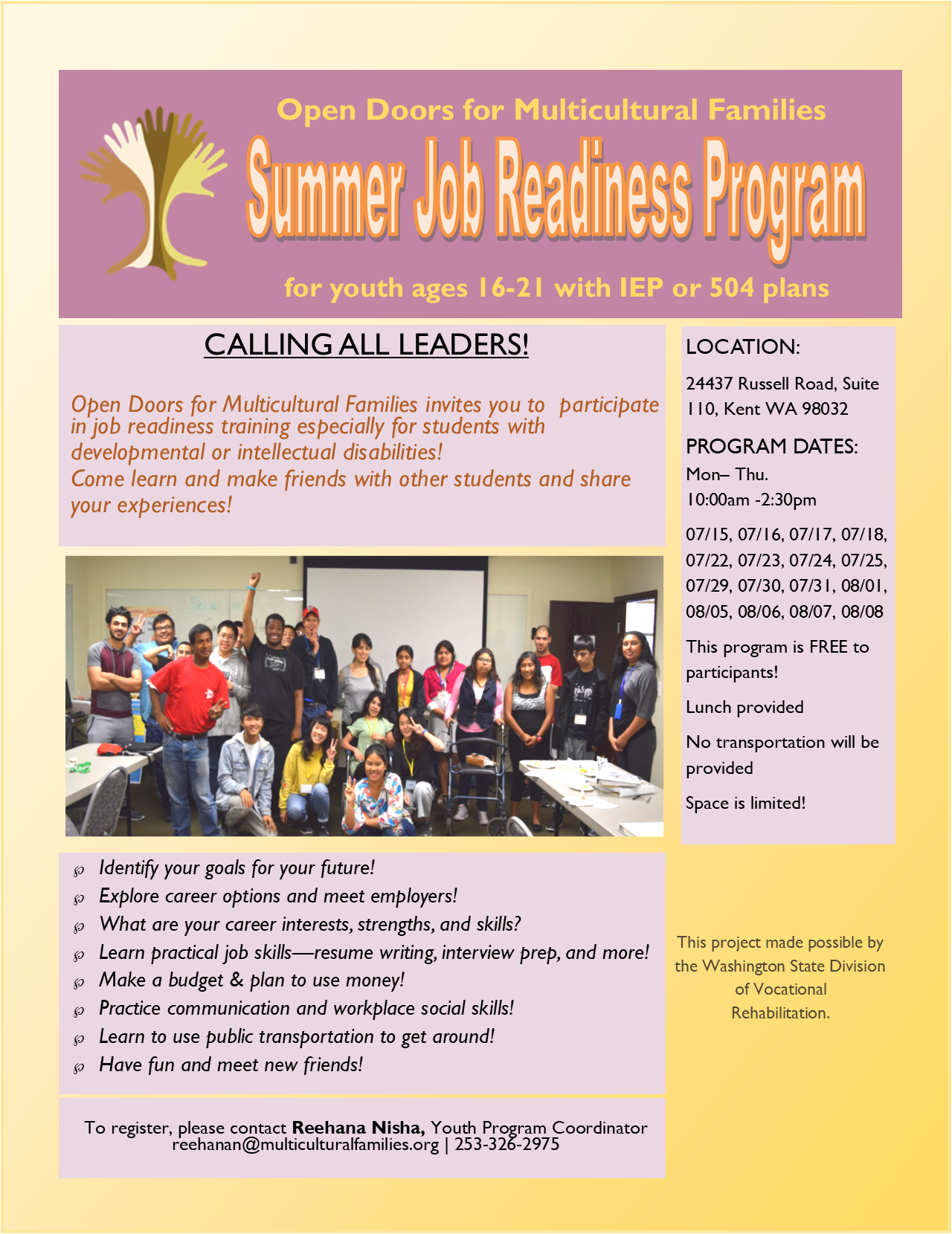 Youth Job Readiness Training – Open Doors for Multicultural